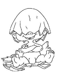 Un drôle de bébé avec une coquille d'œuf sur le crâne, image à colorier