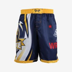 Our Calfornia Fight Shorts were designed exclusively by MyHOUSE Sports Gear and only available on our online website. With its durability, longevity, style and visual aesthetics, our Fully Sublimated MyHOUSE Shorts offer true value for your money. Fight Shorts, Visual Aesthetics, Gears, Topshop, Wrestling, California, Money, Navy, Website