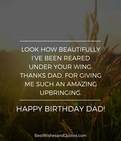 Happy Birthday Dad - 40 Quotes to Wish Your Dad the Best Birthday. Happy Birthday Dad Messages, Happy Birthday In Heaven, Happy Birthday Daddy, Dad Birthday, Birthday Quotes, Daddy In Heaven, I Miss My Dad, Daddy Quotes, Dope Quotes
