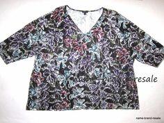 J.JILL Wearever Floral Shirt Womens PLUS 4X 26 28 Black Purple Burgundy Aqua #JJill #KnitTop #Casual