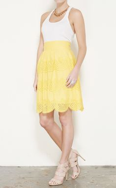 Tibi Yellow Skirt with black blazer