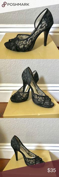 Lulu Townsend black lace peep toe shoes heels 6 Lulu Townsend black lace peep toe shoes heels 6 worn a couple of times Lulu Townsend Shoes Heels