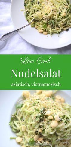 Asian low carb pasta salad with cilantro - Gluten freie Rezepte - Mittagessens Low Carb Pasta, Low Carb Noodles, Low Carb Lunch, Low Carb Dinner Recipes, Healthy Recipes, Zoodle Recipes, Pasta Recipes, Ketogenic Diet Starting, Vegetable Noodles