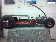 Photos, Ideas and Hot Rod Lifestyle ~ Roadkill Customs Custom Radio Flyer Wagon, Radio Flyer Wagons, Kids Wagon, Toy Wagon, Rat Rods, Pull Wagon, Little Red Wagon, Motorcycle Camping, Camping Gear