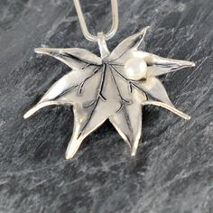Japanese Maple Leaf Necklace , Sterling Silver Leaf Necklace with White Pearl , June Birthstone , Leaf Pendant , Autumn Leaf Silver Necklace by EfratJewelry on Etsy