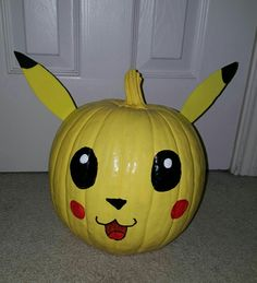 1f5d7b5a8 Pikachu Pokemon Pumpkin Craft paint and yellow foam sheets for the ears  Halloween Birthday, Halloween