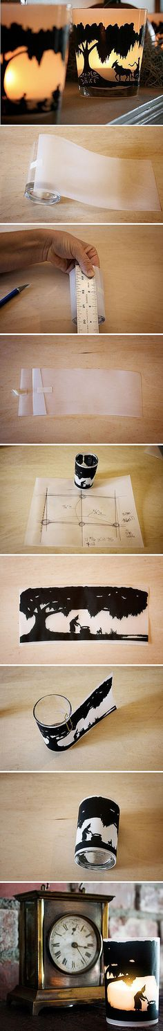 DIY ::  Tea light holder.  I love these posts where the photos explain it all.  So many ideas for this...think Halloween, Christmas, weddings (silhouettes of bride and groom profile images).