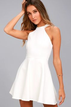Take the girl next door look up a notch with the Hometown Girl White Lace Skater Dress! This sexy stretch knit dress has a high halter neckline and flirty skater skirt. White Lace Mini Dress, White Skater Dresses, Little White Dresses, Lace Dress, Knit Dress, Skater Skirt, Eyelet Dress, Hoco Dresses, Cute Dresses