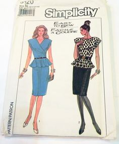 """1980s Fitted Cocktail Dress with Peplum, Side Draped sewing pattern Simplicity 8120 Size 10 12 14 Bust 32.5 34 36"""" UNCUT FF by retroactivefuture on Etsy"""