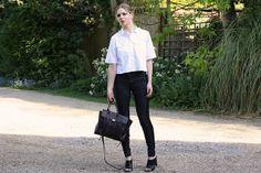 anna lou elliott | 17.04.14 wearing#Whistles cropped shirt, #Topshop skinny jeans and #PhillipLim burgundy #Pashli bag #todayimwearing #ootd