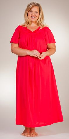 b8bd9e8b3a4 Plus Shadowline Petals Flutter Sleeves Long Nightgown - Red Flutter Sleeve