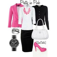 Example - Women's Contemporary Business Casual - I like the blouse, skirt and the pop of pink at the necklace.