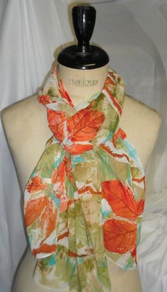 Naturally Inspired  Flowers and Leaves Print Scarf by WildeNature