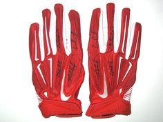 Michael Wilhoite San Francisco 49ers Game Worn & Signed White, Red & Silver Nike Gloves