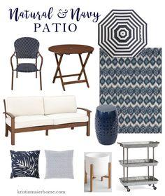 Outdoor Patio Inspiration – Kristin Maier Home Outdoor Spaces, Outdoor Living, Blue Patio, Cozy Patio, Deck Decorating, Patio Umbrellas, New Home Designs, Small Patio, Home Furnishings