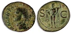 Rome 23-32, AE-As, Agrippa, Roman emperor time. Av: head with crown left and circumscription. Rev: Neptune with dolphin and trident frontally between SC standing. Cohen 3, RIC 32,10, 3g, s-ss.