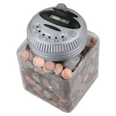 Electronic Talking Piggy Bank: Digital Counting Money Coin Jar with Activated Voice Feedback & LCD Display (Silver) Money Saving Box, Money Box, Coin Jar, Money Safe, Picture Mix, Counting Money, Savings Box, Pocket Bike, Neon Room