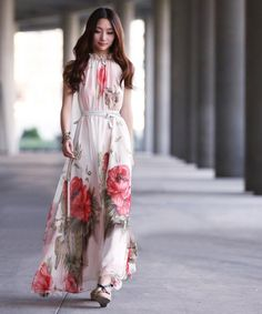 Bohemian Style Halter Neck Large Floral Print Chiffon Maxi Dress For Women (AS THE PICTURE,ONE SIZE) China Wholesale - Sammydress.com