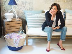 Ines de la Fressange in new boutique on rue de Grenelle, Paris - stop by & enjoy her signature je ne sois quois style.