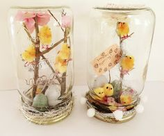 Spring craft using mason jars!  My daughter made these.