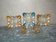 4  1940's Carnival Glass Small Ashtrays by RoysCollectibles
