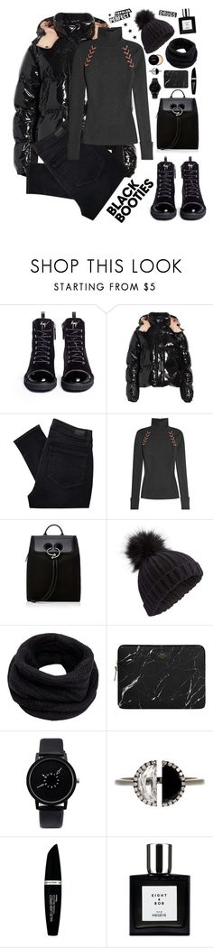 """""""Back to basics:Black booties"""" by shangalairina ❤ liked on Polyvore featuring Giuseppe Zanotti, Moncler, Paige Denim, Alexander McQueen, J.W. Anderson, Miss Selfridge, Helmut Lang, Bony Levy, Max Factor and black"""