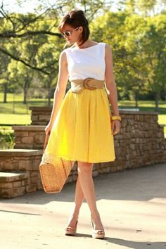 yellow A-line skirt white s/s top, brown belt by jandahre