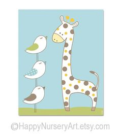Happy giraffe baby room nursery wall art  by HappyNurseryArt, $15.00...nursery art possibility