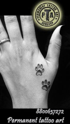 Dog paw tattoo, dog paw tattoo design with shading, small tattoo designs, Dog paw on hand, small dog paw tattoo design for girls  Done by -Deepak Karla 8800637272   AT- Permanent tattoo art, Gurgaon Delhi/NCR http://www.permanenttattooart.com/ https://www.facebook.com/PermanentTattooArt tattoo in Gurgaon (Haryana)