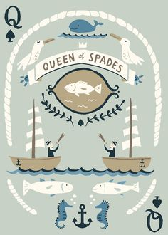 Creative playing card design: Queen of Spades with a nautical twist!