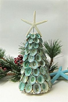 Sea Shells, Urchins and Glass Christmas Trees | Beach House Decorating by @The Seashell Collection
