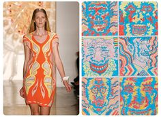 "#Art Inspired Looks #fashion Ohne TitelKarl Wirsum's cartoonish illustrations may appear to be unlikely fashion inspiration, but Ohne Titel's Alexa Adams and Flora Gill thought otherwise, applying the same kaleidoscopic effect to their dresses as this dizzying untitled 1967 study for ""The Hairy Who Sideshow"" comic book."