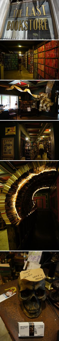 The Last Bookstore Los Angeles, California << This exact bookstore was in Chasing Life (Boston) last night, I kid you not!