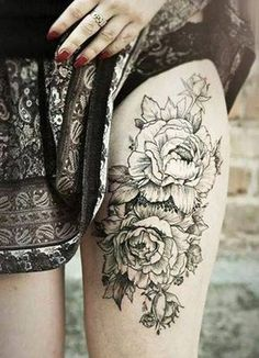 Peony tattoo on thigh tattoo. Love the contrast between the skirt and tattoo.
