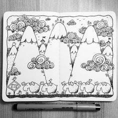 Sketchbook Project One on Behance Sketchbook Project, Art Sketchbook, Doodle Sketch, Doodle Art, Watercolor Sketchbook, Inspirational Artwork, Sketchbook Inspiration, Ink Illustrations, Drawing People