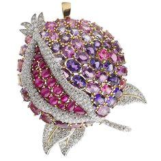 verdura jewelry brooches | VERDURA A Multi-Gem and Diamond Pomegranate Brooch at 1stdibs