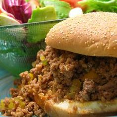 Ground beef, onion, green pepper, and ketchup are seasoned with garlic powder and sweetened with brown sugar to make this hearty meat filling. Serve on hamburger buns.