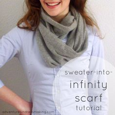 Adventures in Dressmaking: Amazing sweater-into-infinity scarf-tutorial - super soft angora sweater that had shrunk in some places. Old Sweater, Sweater Scarf, Angora Sweater, Diy Clothing, Sewing Clothes, Remake Clothes, Infinity Scarf Tutorial, Diy Vetement, Recycled Sweaters