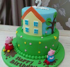 2 tier peppa pig themed cake
