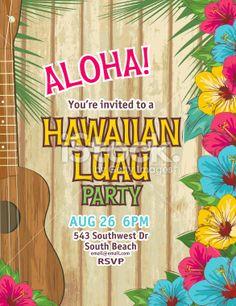 Lemonade summer beach party invitation template royalty free stock aloha hawaiian party invitation royalty free stock vector art illustration stopboris Choice Image