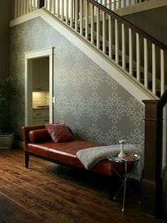 Stencil from whitehallco.com. Walls are SW Quiver Tan and the stencil color is SW Universal Khaki.