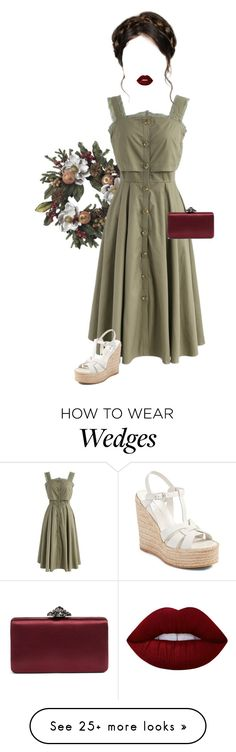 """Olive"" by lily-doyle03 on Polyvore featuring Nearly Natural, Chicwish, Yves Saint Laurent, Nordstrom, Lime Crime and dress"