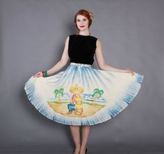 Vintage 50s Mexican cotton full circle skirt. Handpainted in soft blues, greens and browns.
