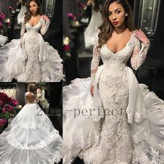 Luxury Tiered Train Wedding Dresses Lace Backless Long Sleeve V Neck Bridal Gown | Clothing, Shoes & Accessories, Wedding & Formal Occasion, Wedding Dresses | eBay!