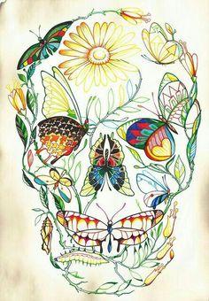 Beautiful butterfly and vinene skull... Skull Butterfly Tattoo, Tattoo Sugar Skulls, Flower Skull Tattoos, Candy Skull Tattoos, Sugar Skull Drawings, Butterfly Art, Feminine Skull Tattoos, Pretty Skull Tattoos, Sugar Skull Artwork