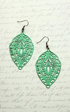 Patina Earrings Large Filigree Earrings Jade