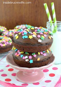 Triple Chocolate Donuts - chocolate donuts with chocolate chips and a chocolate glaze #donuts #chocolate @brucrewlife