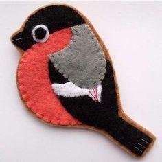 Bullfinch, handmade felt bird brooch | ThisNext
