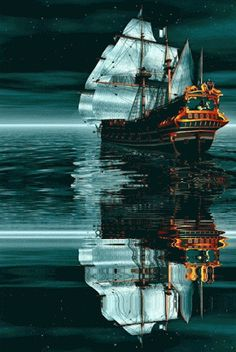 sailing ~Via Nautilus Salvage Foto Gif, Old Sailing Ships, Good Night Gif, Ship Paintings, Nature Gif, Wooden Ship, Water Element, Beautiful Gif, Beautiful Pictures