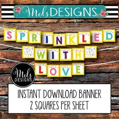 INSTANT DOWNLOAD BANNER Sprinkled With Love Confetti Baby Sprinkle Surprise Shower 2nd Baby Girl Boy Neutral Turquoise 2 Squares Per Sheet Custom Party Invitations, Digital Invitations, Mo Design, 2nd Baby, Baby Sprinkle, Confetti, Sprinkles, Squares, Projects To Try